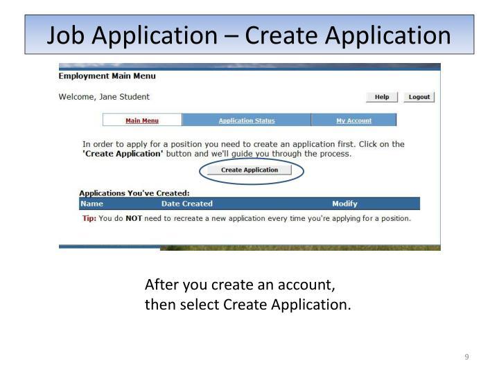 Job Application – Create Application
