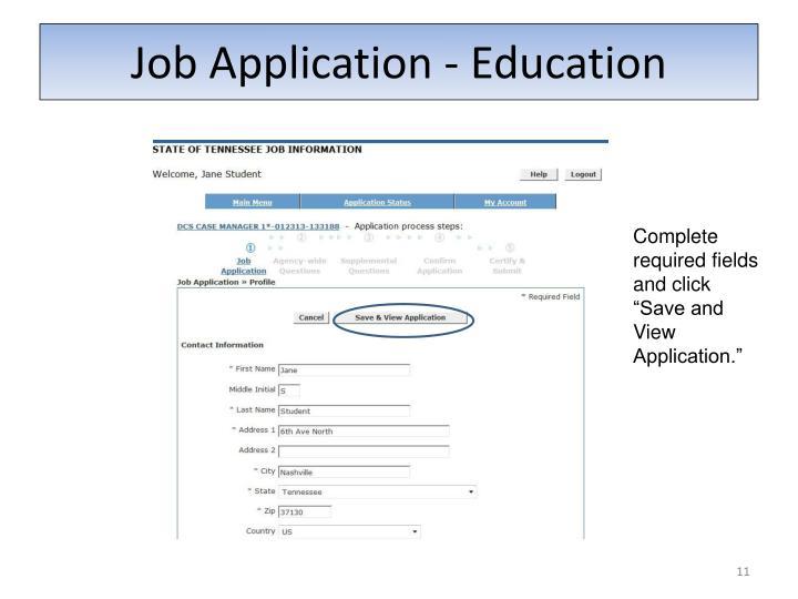 Job Application - Education
