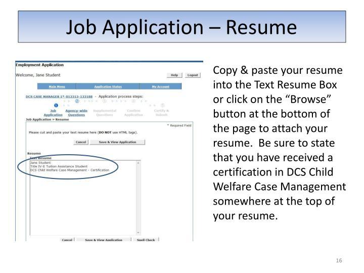 Job Application – Resume