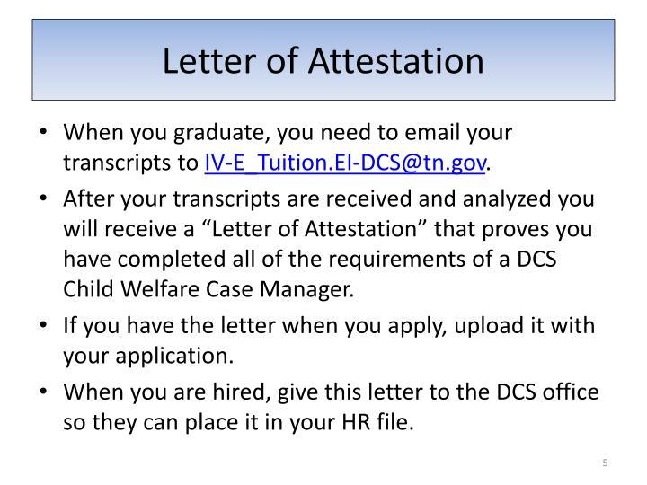 Letter of Attestation
