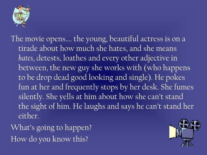 The movie opens…. the young, beautiful actress is on a tirade about how much she hates, and she means