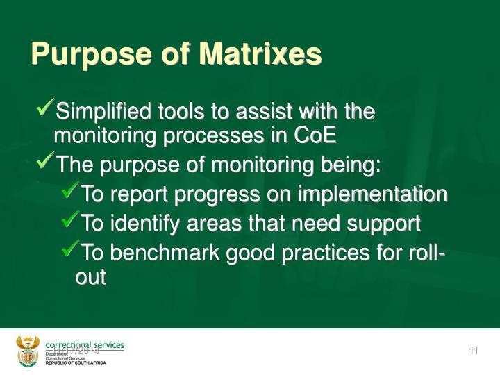 Purpose of Matrixes