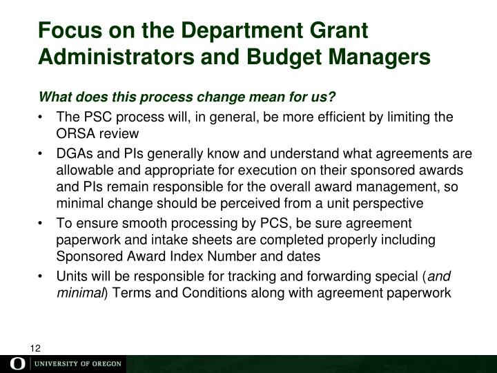 Focus on the Department Grant Administrators and Budget Managers
