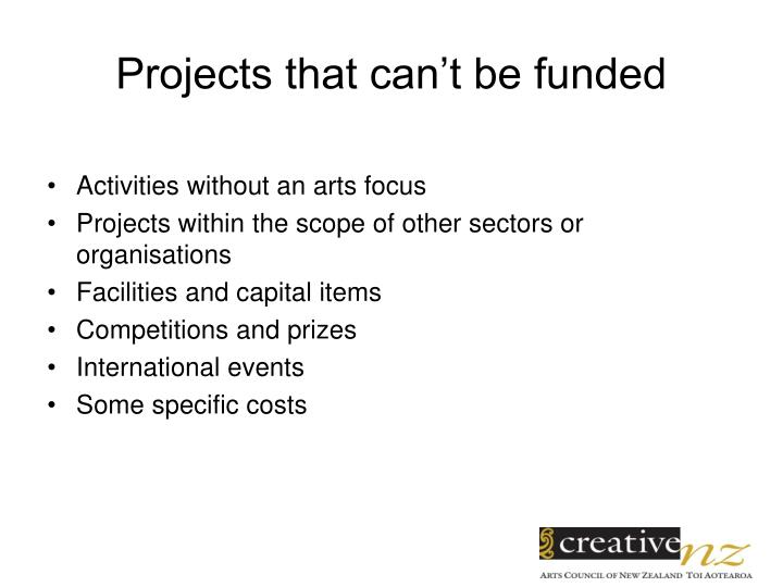Projects that can't be funded