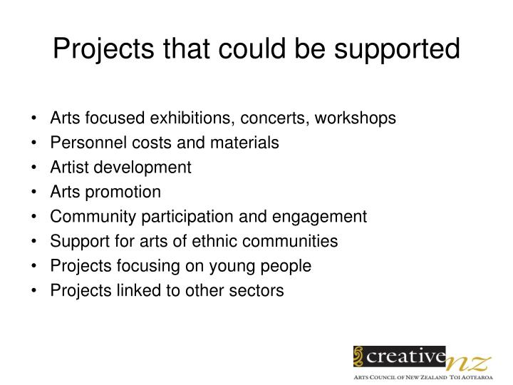 Projects that could be supported