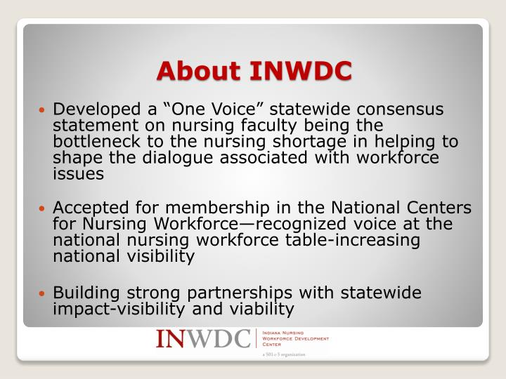 "Developed a ""One Voice"" statewide consensus statement on nursing faculty being the bottleneck to the nursing shortage in helping to shape the dialogue associated with workforce issues"