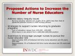 proposed actions to increase the number of nurse educators
