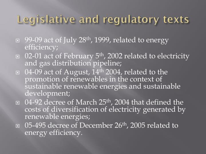 Legislative and regulatory texts
