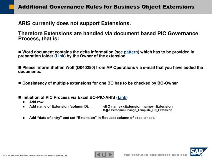 Additional Governance Rules for Business Object Extensions