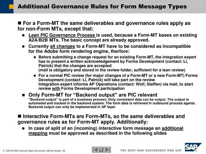 Additional Governance Rules for Form Message Types