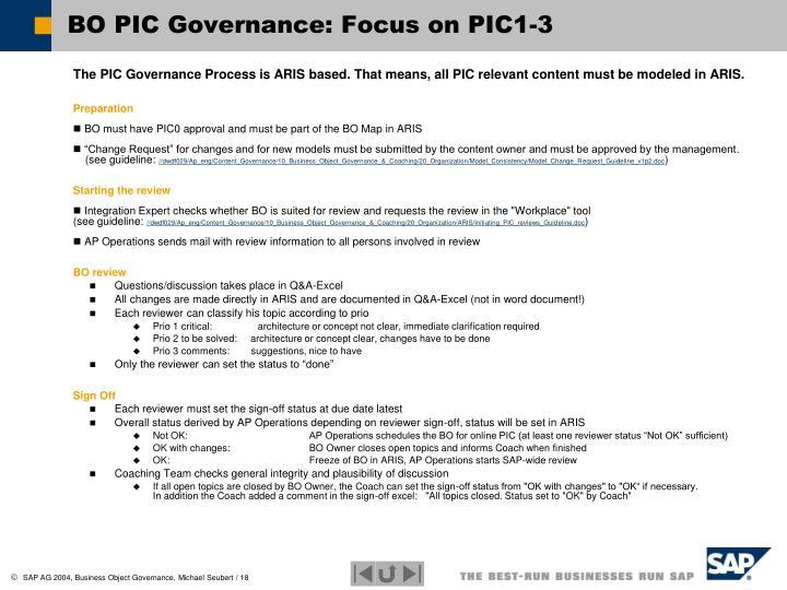 BO PIC Governance: Focus on PIC1-3