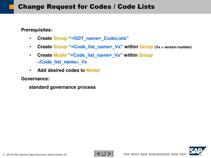 Change Request for Codes / Code Lists