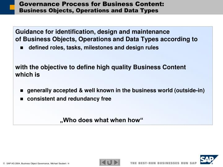 Governance Process for Business Content: