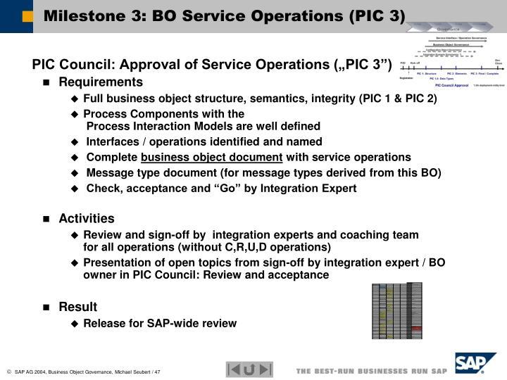 Milestone 3: BO Service Operations (PIC 3)