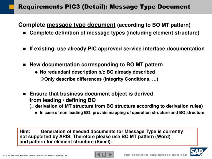 Requirements PIC3 (Detail): Message Type Document