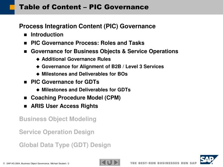 Table of Content – PIC Governance