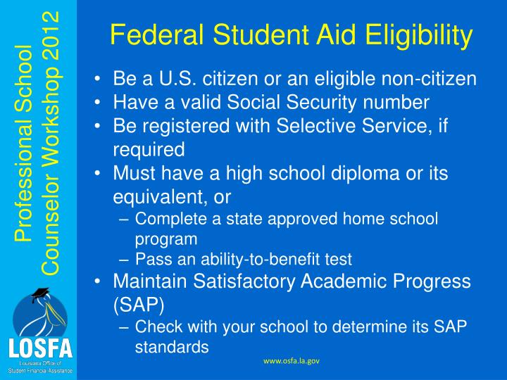 Federal Student Aid Eligibility
