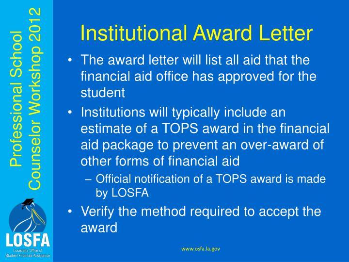 Institutional Award Letter