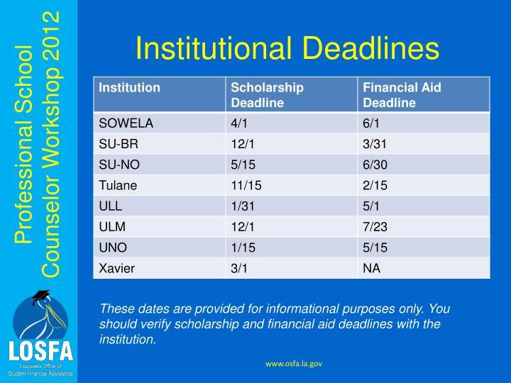 Institutional Deadlines
