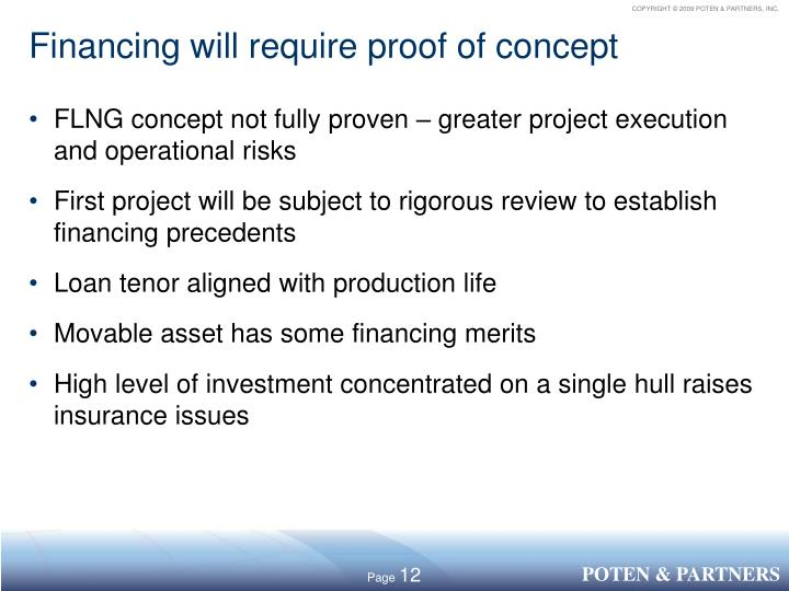 Financing will require proof of concept