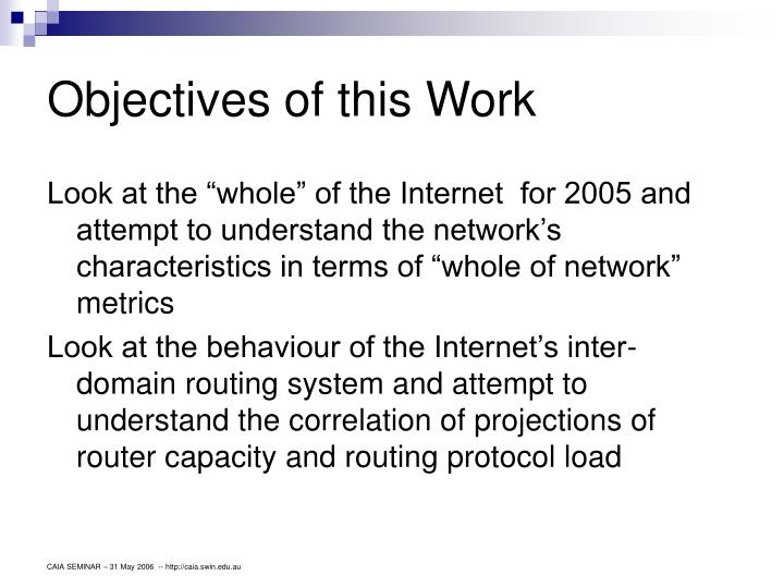 Objectives of this Work
