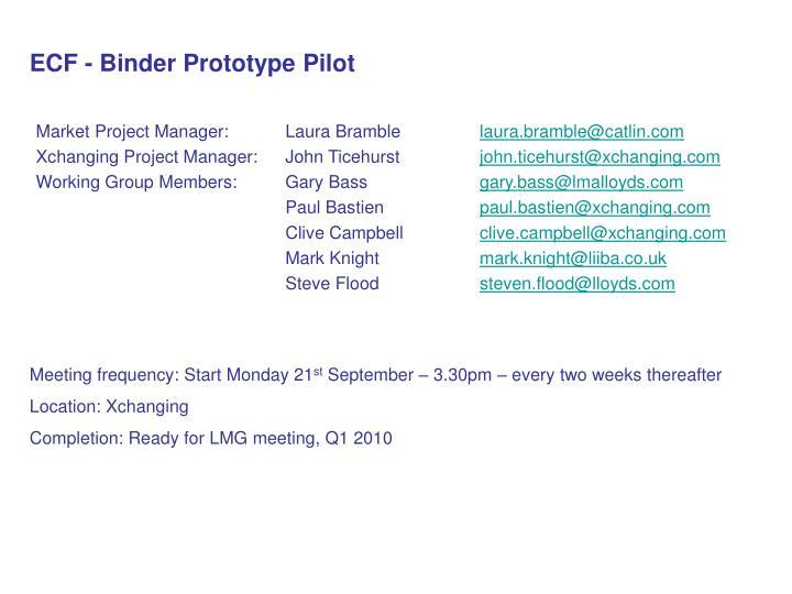 ECF - Binder Prototype Pilot