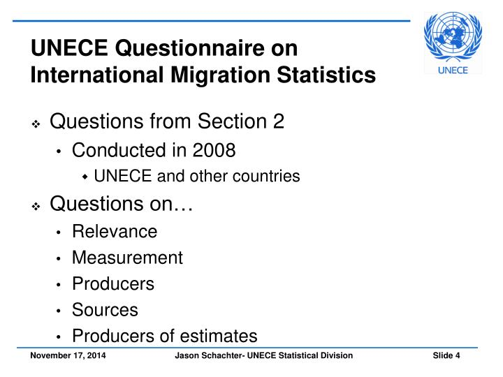UNECE Questionnaire on International Migration Statistics