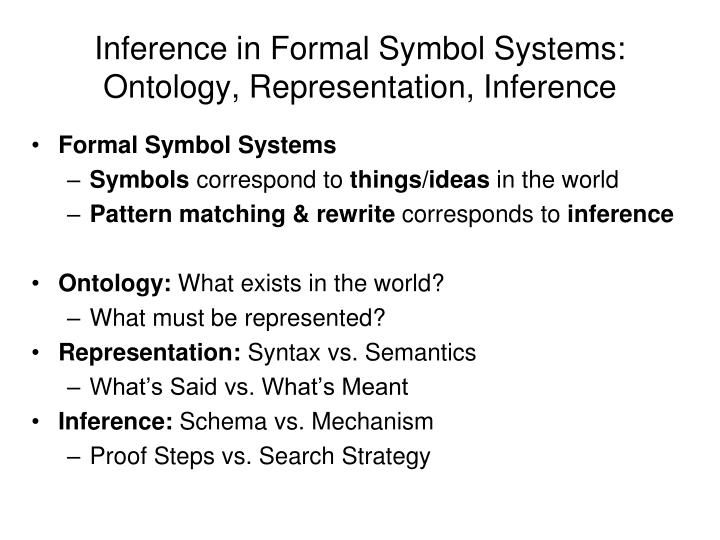 Inference in Formal Symbol Systems: