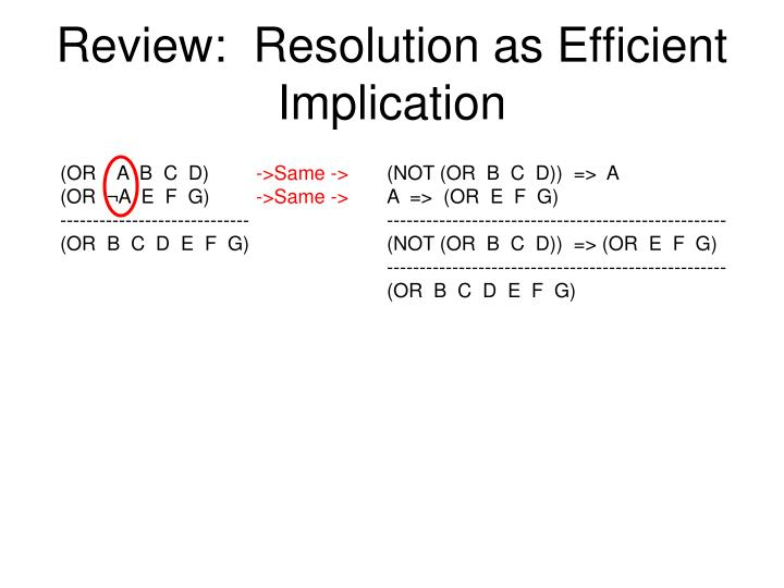Review:  Resolution as Efficient Implication