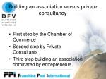 building an association versus private consultancy