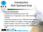 introduction rolf gerhard kirst