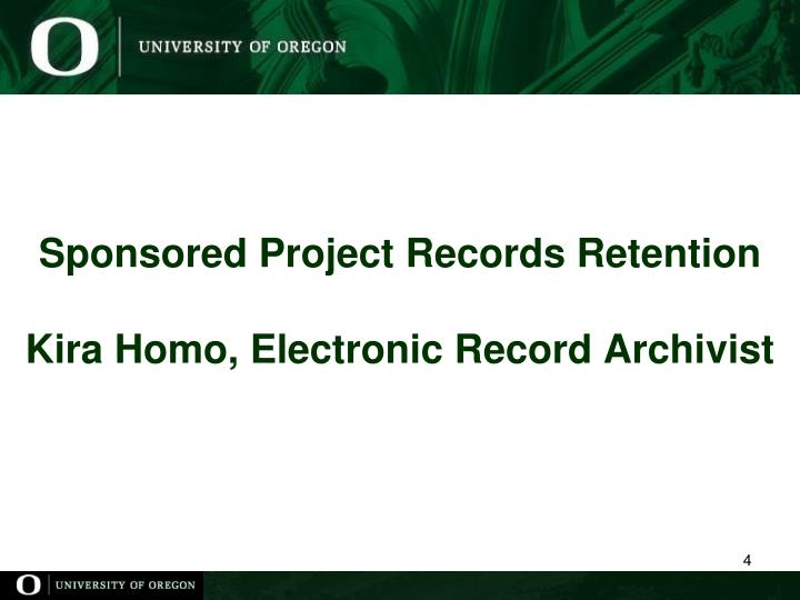 Sponsored Project Records Retention