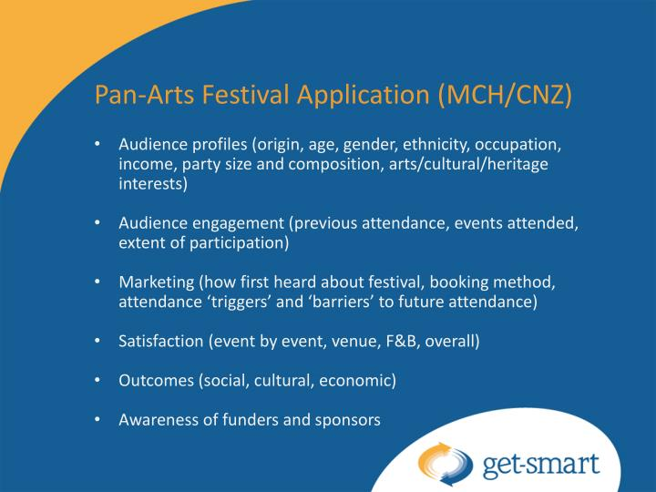 Pan-Arts Festival Application (MCH/CNZ)
