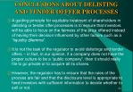 conclusions about delisting and tender offfer processes