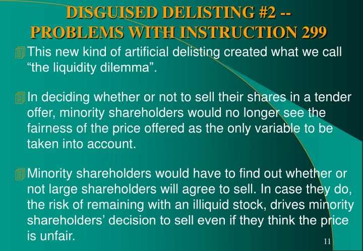"""This new kind of artificial delisting created what we call """"the liquidity dilemma""""."""