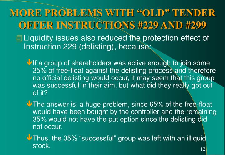 Liquidity issues also reduced the protection effect of Instruction 229 (delisting), because: