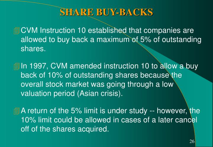 CVM Instruction 10 established that companies are allowed to buy back a maximum of 5% of outstanding shares.