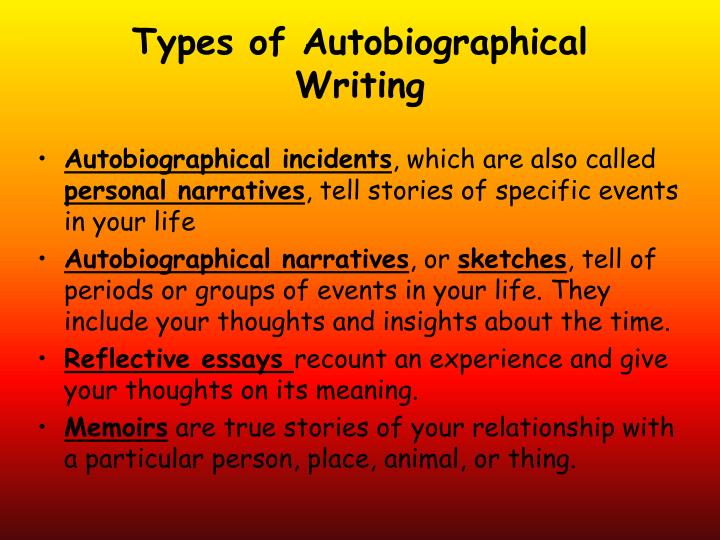 Types of Autobiographical Writing