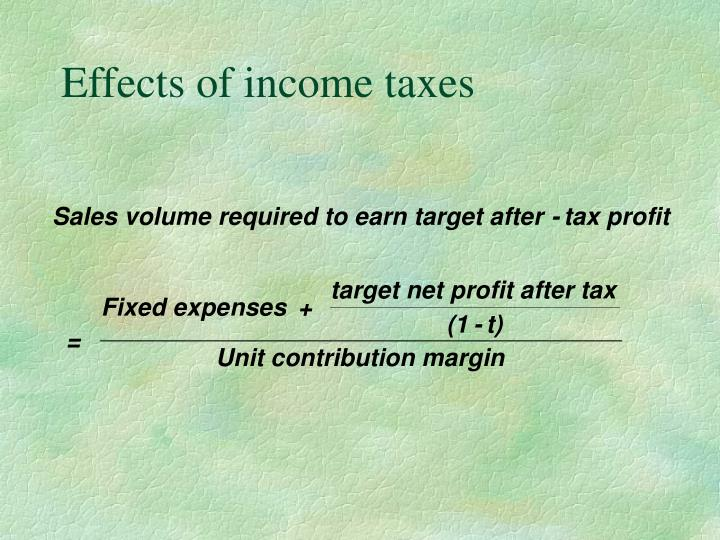 Effects of income taxes