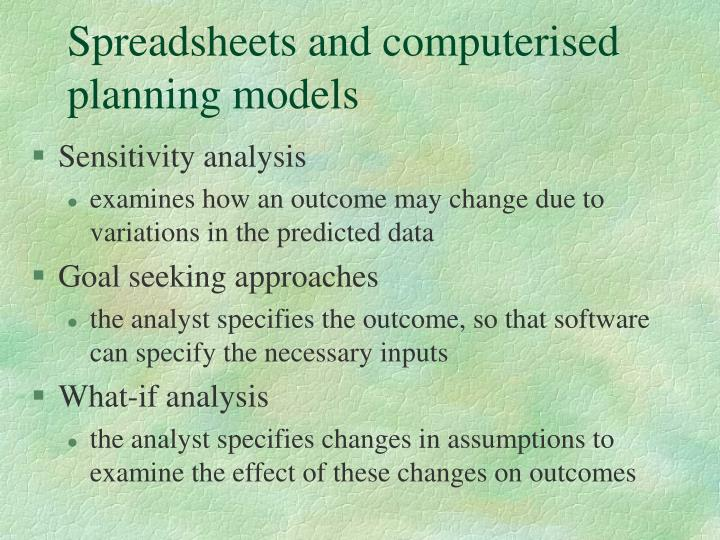 Spreadsheets and computerised planning models