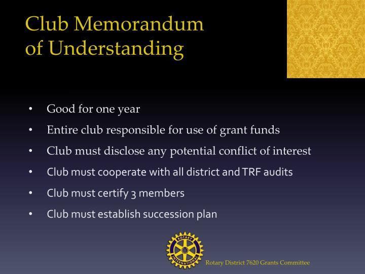 Club Memorandum