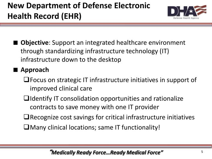New Department of Defense Electronic Health Record (EHR)