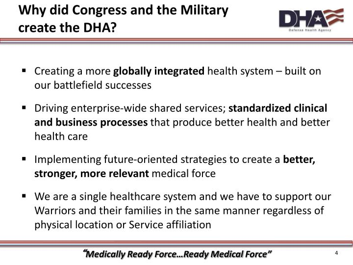 Why did Congress and the Military create the DHA?