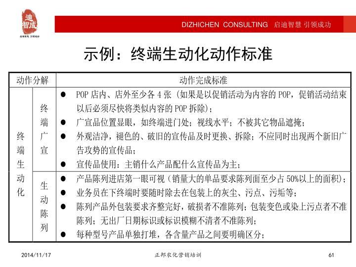 示例:终端生动化动作标准