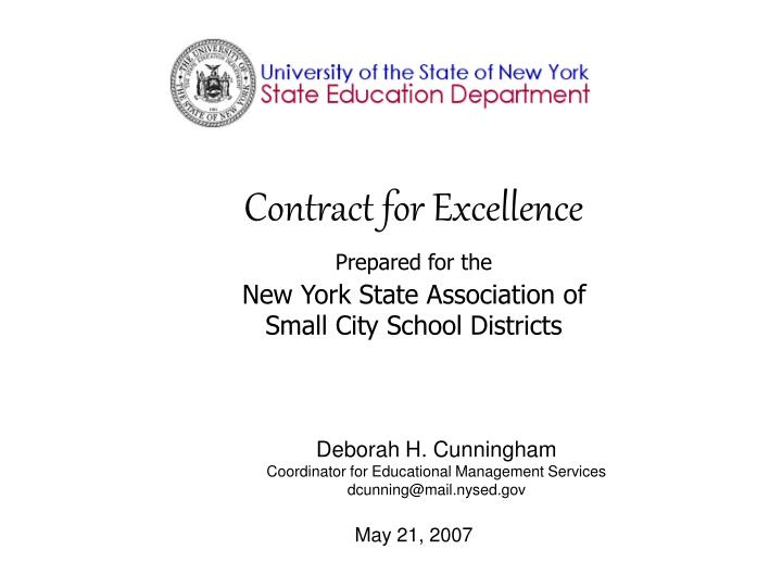 Contract for excellence prepared for the new york state association of small city school districts
