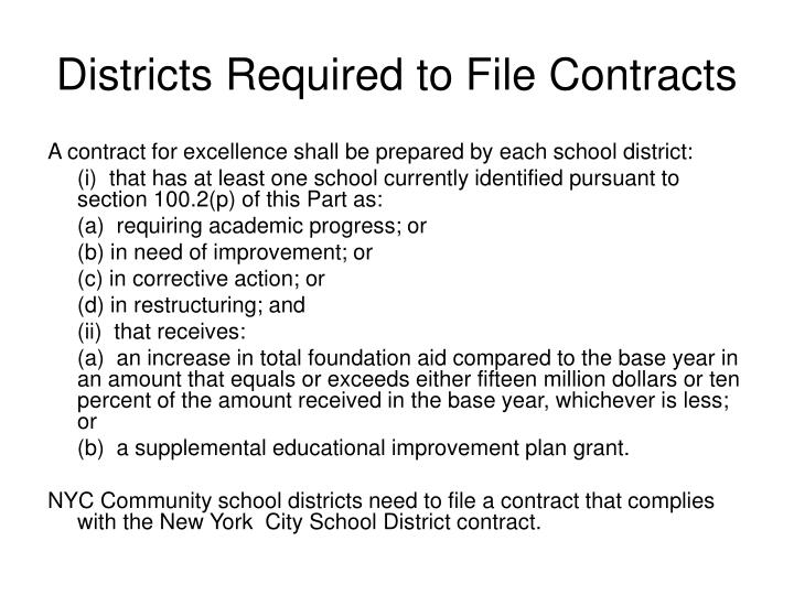 Districts Required to File Contracts