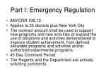 part i emergency regulation