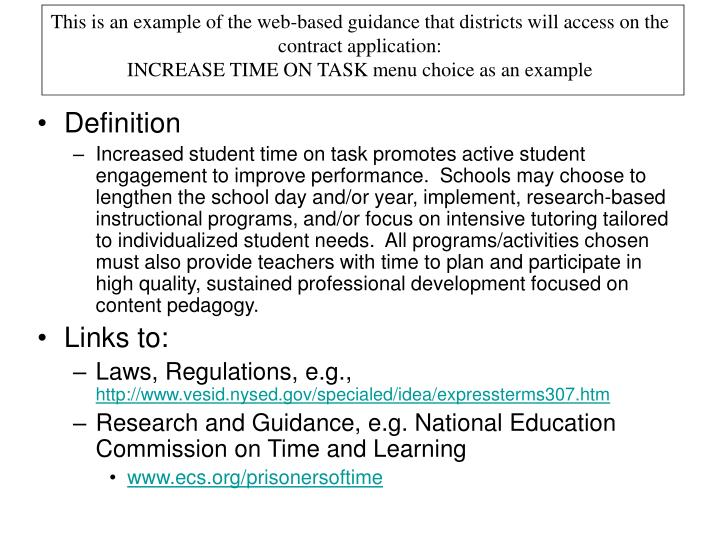 This is an example of the web-based guidance that districts will access on the contract application: