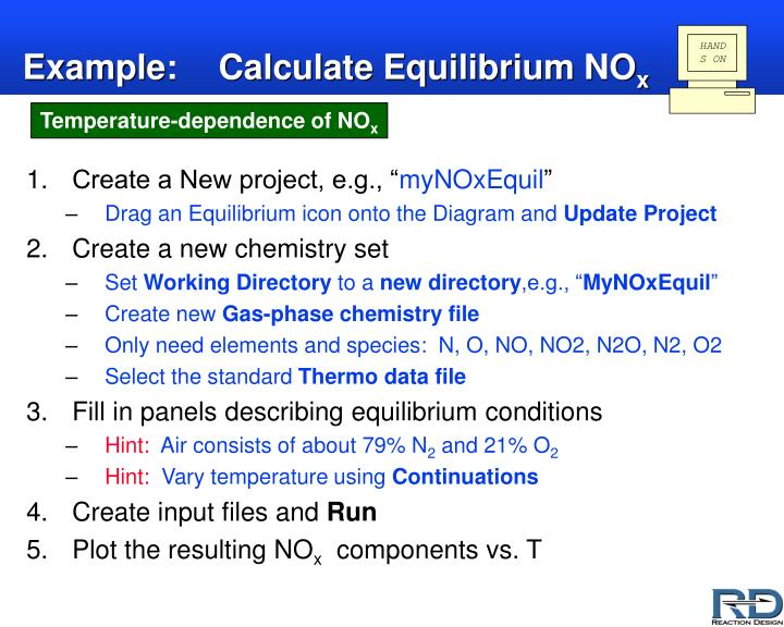 Example calculate equilibrium no x