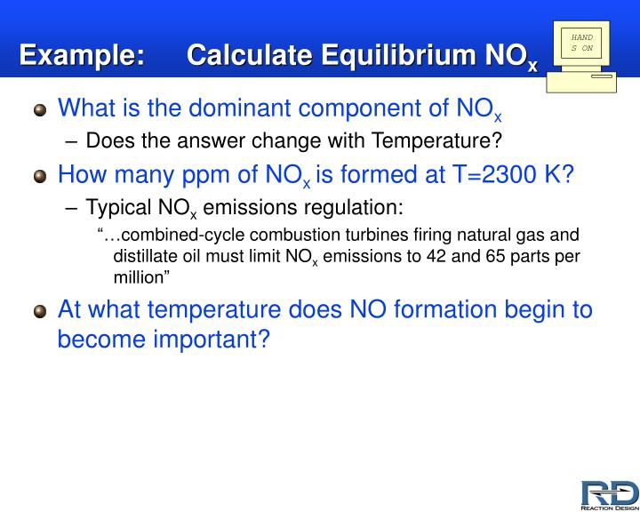Example: Calculate Equilibrium NO
